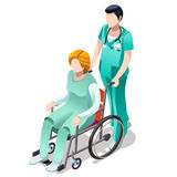Vector Male Nurse and Patient in Wheelchair Isometric People Royalty Free Stock Image