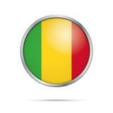Vector Malian flag button. Mali flag in glass button style. Stock Photography