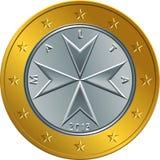 Vector Maltese money gold euro coin one euro Royalty Free Stock Image