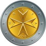 Vector Maltese money gold euro coin two euro Royalty Free Stock Photography