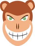 Vector malvado de la cabeza del mono stock de ilustración