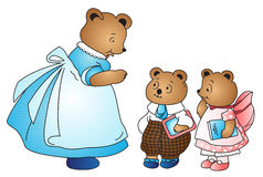 Vector Mama bear and her kids Stock Images