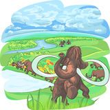 Vector mammoths in a landscape with a river Royalty Free Stock Photos