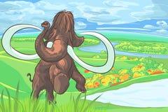 Vector Mammut in einer Landschaft mit einem Fluss vektor abbildung
