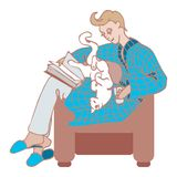 A vector man in a bathrobe and slippers sits across the chair with a cat and a book on his lap. A man in a blue checkered coat sits across the chair. A book lies stock illustration