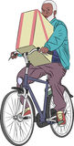 Vector. A man on a bicycle. Royalty Free Stock Images