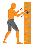 Vector man breaking a hole in brick wall Stock Photo