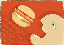 Vector man eating big hamburger. Royalty Free Stock Photography
