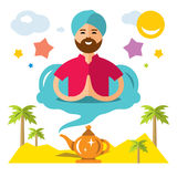 Vector Man genie of the lamp. Flat style colorful Cartoon illustration. Royalty Free Stock Photos