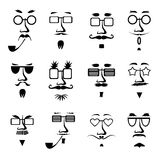 Vector man in glasses character faces avatars Stock Images