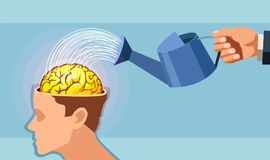 Vector of a man hand watering a brain. vector illustration
