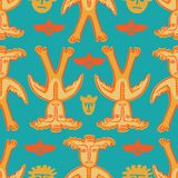 Vector man-moose seamless pattern blue Royalty Free Stock Photo