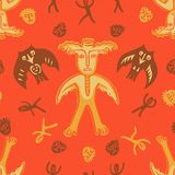Vector man-moose seamless pattern red Stock Photo