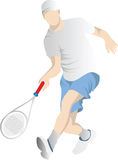 Vector Man Playing Tennis. Illustration Royalty Free Stock Images