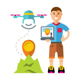 Vector Man quadrocopter flight controls. Flat style colorful Cartoon illustration. Royalty Free Stock Photos