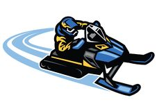 Man ride snow mobile in action. Vector of man ride snow mobile in action Stock Photos