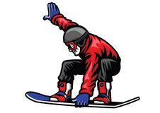 Man ride snowboard and doing stunt. Vector of man ride snowboard and doing stunt Royalty Free Stock Image