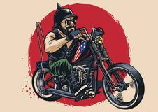 Man riding a chopper motorcycle. Vector of man riding a chopper motorcycle Stock Photography