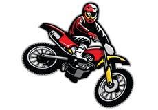 Motocross jumping. Vector of man riding motocross jumping stunt Royalty Free Stock Photography