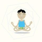 Vector man sitting cross-legged meditating Stock Photography