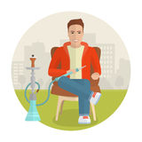 Vector man smoking hookah. Stock Photos