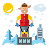 Vector Man with a Snow Blower. Flat style colorful Cartoon illustration. Royalty Free Stock Images
