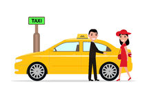 Vector man taxi helps passenger woman open door Royalty Free Stock Images