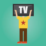 Vector of man with TV head .concept.  Royalty Free Stock Photo