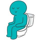 Vector of man using flush toilet. Hand drawn cartoon, doodle illustration royalty free illustration