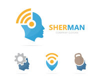 Vector of man and wifi logo combination. Face and signal symbol or icon. Unique human and radio, internet logotype Royalty Free Stock Photo