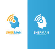 Vector of man and wifi logo combination. Face and signal symbol or icon. Unique human and radio, internet logotype Royalty Free Stock Photography