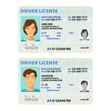 Vector man and woman driver license plastic card template Royalty Free Stock Photography