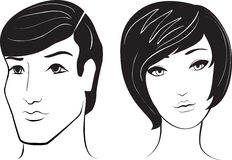 Vector man and woman face. Illustration royalty free illustration