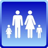 Vector Man & Woman icon with children. Over blue background Stock Photos