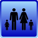 Vector Man & Woman icon with children. Over blue background Royalty Free Stock Photography
