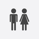 Vector man and woman icon on white background. Modern flat picto. Gram. Simple flat symbol for web site design Stock Photo