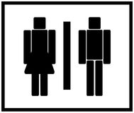 Vector Man & Woman restroom sign. In black and white Stock Image