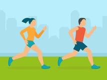 Vector man and woman running marathon Stock Image