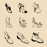 Vector man and woman shoes set. Footwear collection in sketch style. Stock Image