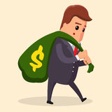 Vector or manager Business concept. Man in suit, businessman carrying big and heavy money bag on his back. Vector Simple cartoon of a businessman carried a money Stock Photo