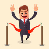 Vector manager or businessman at finish line. A man in  suit crosses the  , red ribbon. Illustration. cartoon  winner. Vector manager or businessman at finish Stock Image