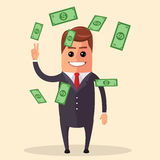 Vector manager character smiling and skipping. Dollar bills fly around a person. Success  wealth. Money. Stock Image