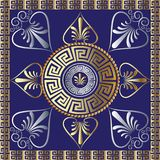 Vector mandala. Ancient greek key meander circle pattern. Blue f. Loral background with grecian vintage hand drawn gold 3d flowers, frames, tracery ornaments Royalty Free Stock Photo