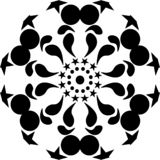 Vector mandala black round geometric with stars, abstract art, mandala abstract & artistic. black leaves. stock illustration