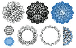 Vector mandala collection in black and blue colors. Zen mandala for your design, greeting card, coloring book. Stock Photos