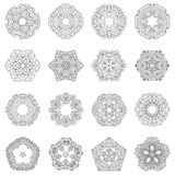 Vector mandala collection. Round elements set. 16 ornamental circles Stock Photo