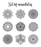 Vector mandala collection. Vintage decorative elements. Hand drawn background Royalty Free Stock Photography