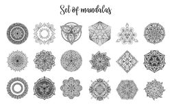Vector mandala collection. Vintage decorative elements. Hand drawn background Royalty Free Stock Photos