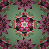 Abstract colored picture. Vector Mandala. Colored round ornament pattern on a neutral, green and pink colors Stock Image