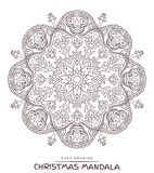 Vector mandala for coloring with christmas decorative elements. Stock Photo
